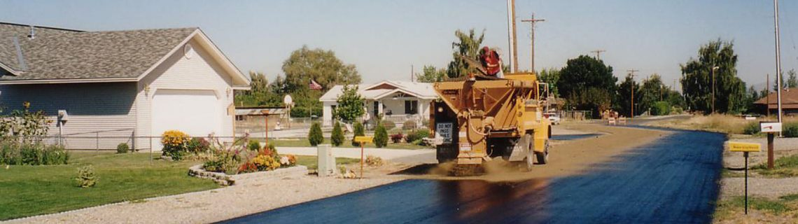 Application of CRF restorative asphalt seal on a residential street
