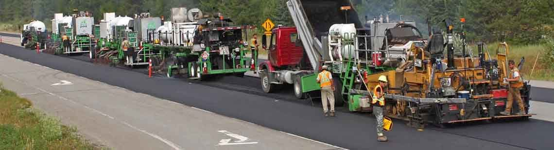Road being rebuilt with recycled asphalt