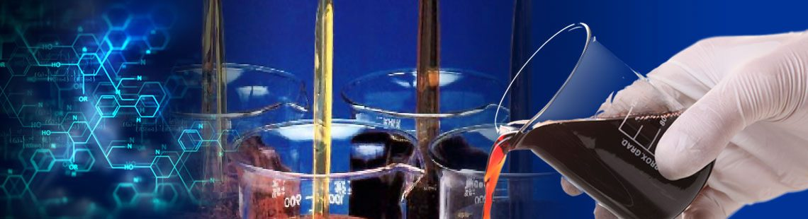 montage of chemical formula, beakers of maltene compounds and hand pouring beaker
